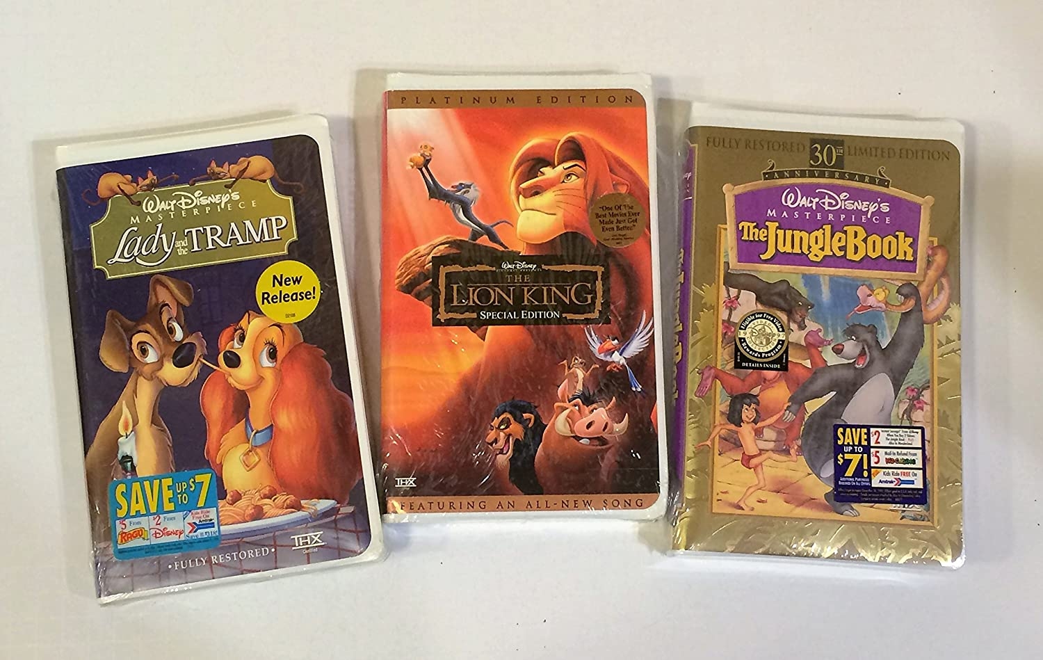 Amazon Com Walt Disney Vhs Tapes Lion King Jungle Book Lady And The Tramp Movies Tv