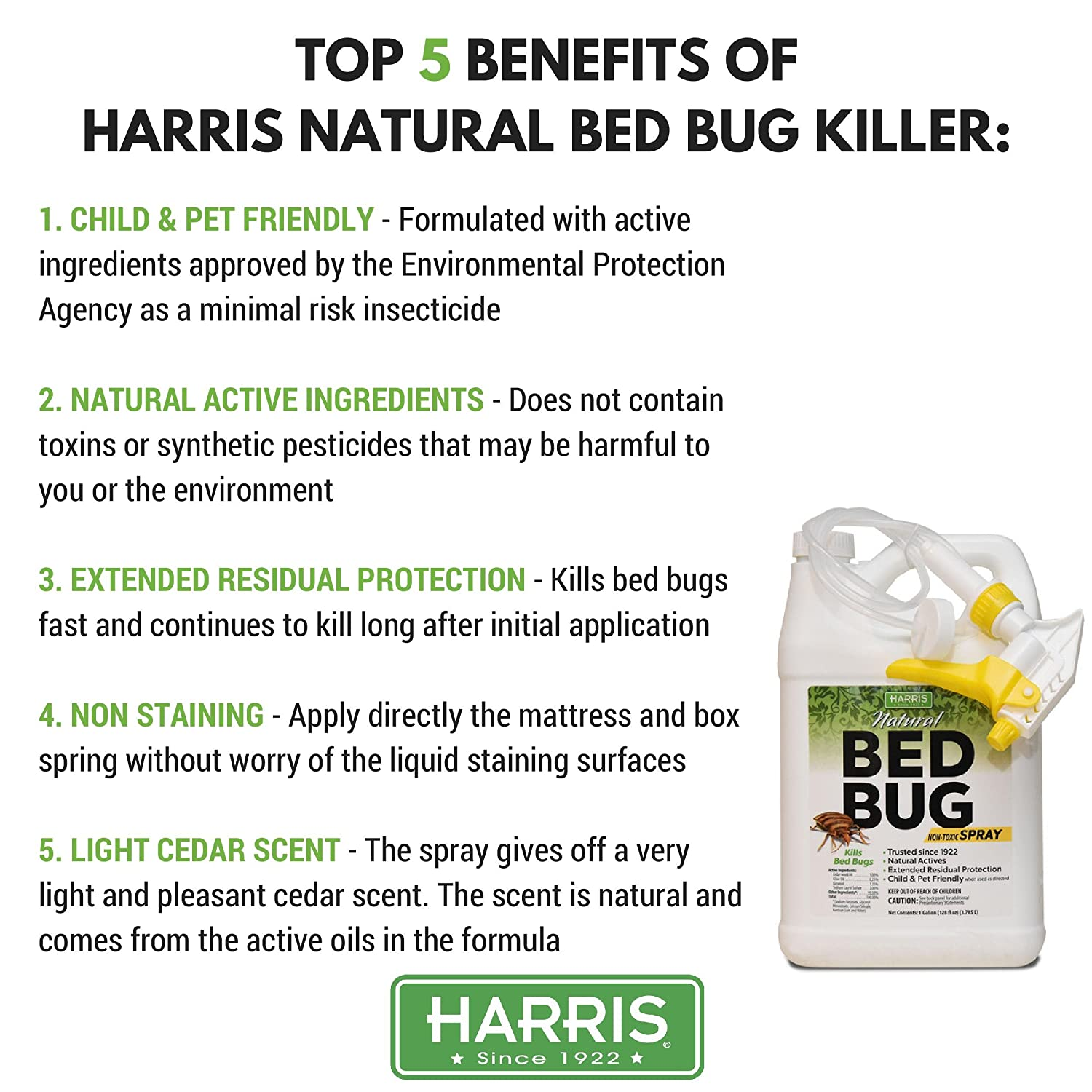 Harris Plant Based Bed Bug Killer, Fast Acting Non-Toxic Spray with  Extended Residual (Gallon)