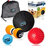 """Deep Tissue Massage Ball Set - Includes 5"""" Foam Roller Mobility Ball, Double Peanut Lacrosse Ball, Spiky Ball for…"""