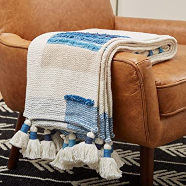 Rivet Global Textured 100% Cotton Throw Blanket With Large Tassels, Blue and White