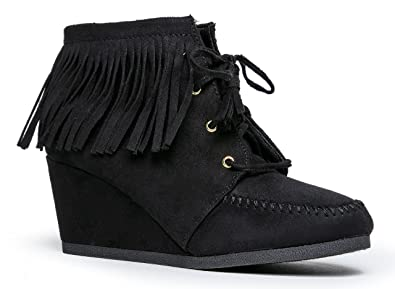 0dd56e745fc10 City Classified Women's Synthetic Wig Fringe Lace Up Moccasin Wedge Ankle  Boot 9 B(M