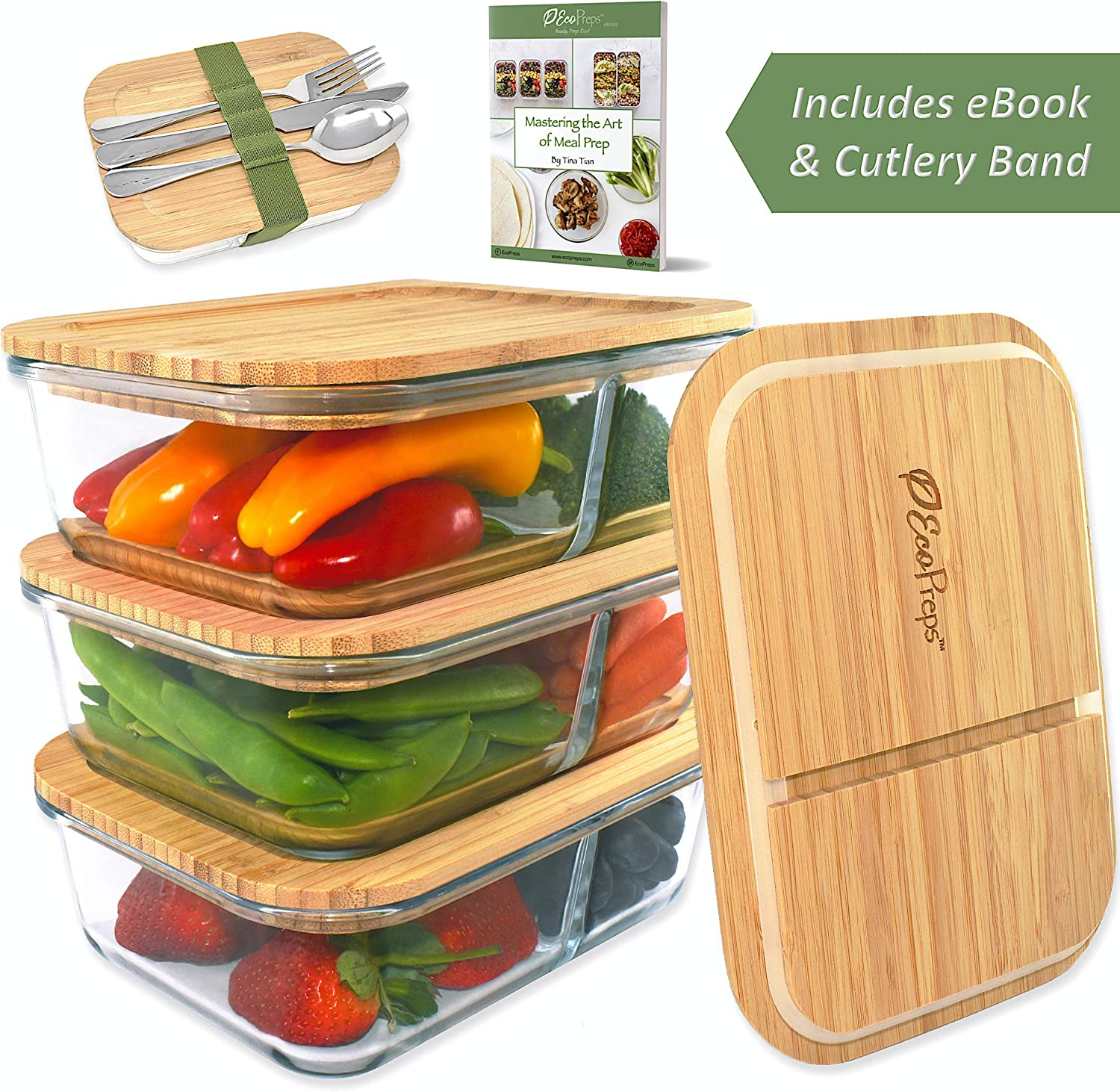 ECOPREPS Glass Meal Prep Containers with Bamboo Lids + Cutlery Band 》The Most Eco-Friendly Lunch Container on the Planet 》100% Plastic-Free, Reusable, Microwaveable Food Storage【2 Compartment, 3 Pack】