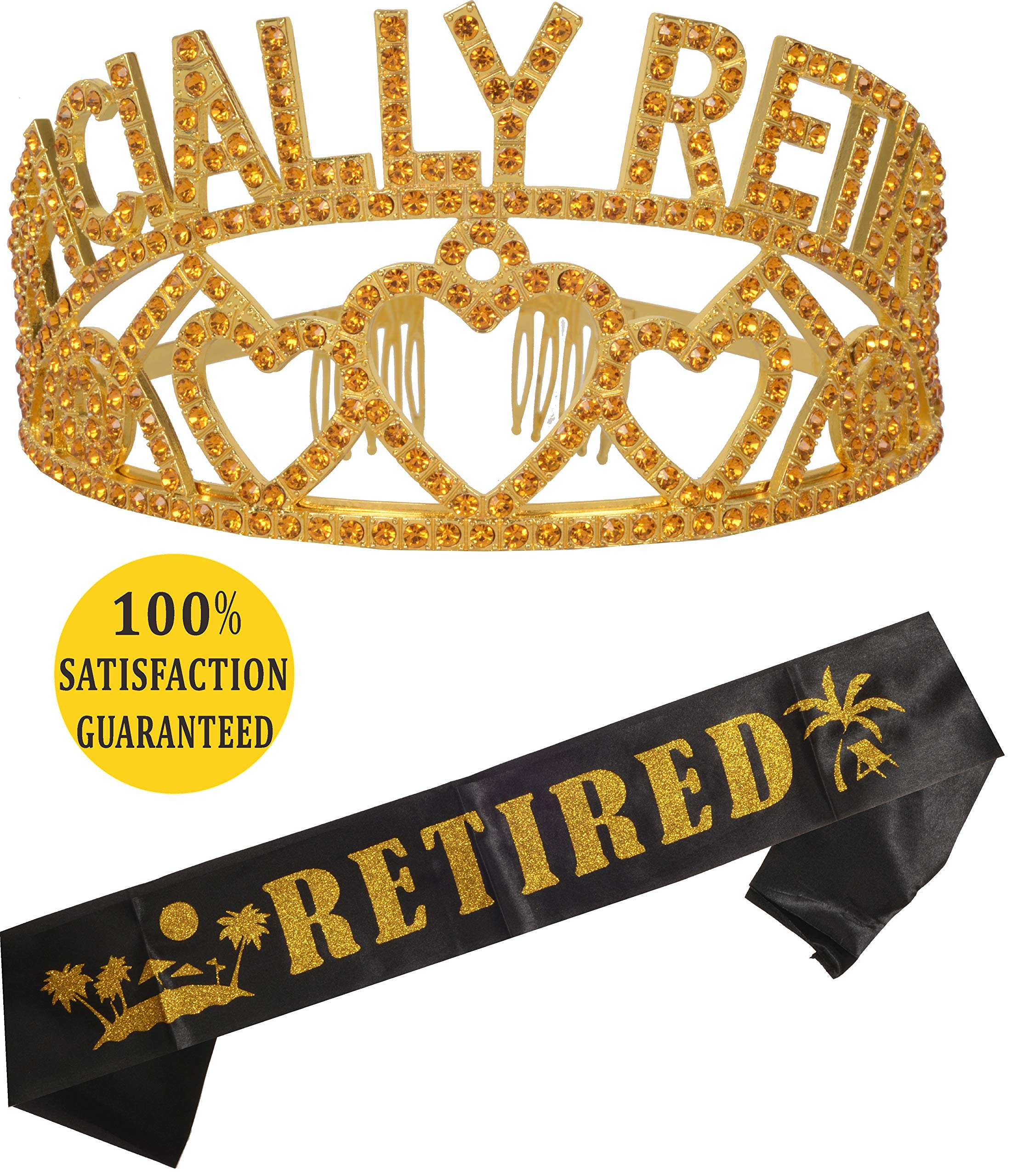 Gold Officially Retired Retirement Party Set | Officially Retired Tiara/Crown | Retired Sash |Retired! Satin Sash| Retirement Party Supplies, Gifts,Favors and Decorations | Great for Retiremen