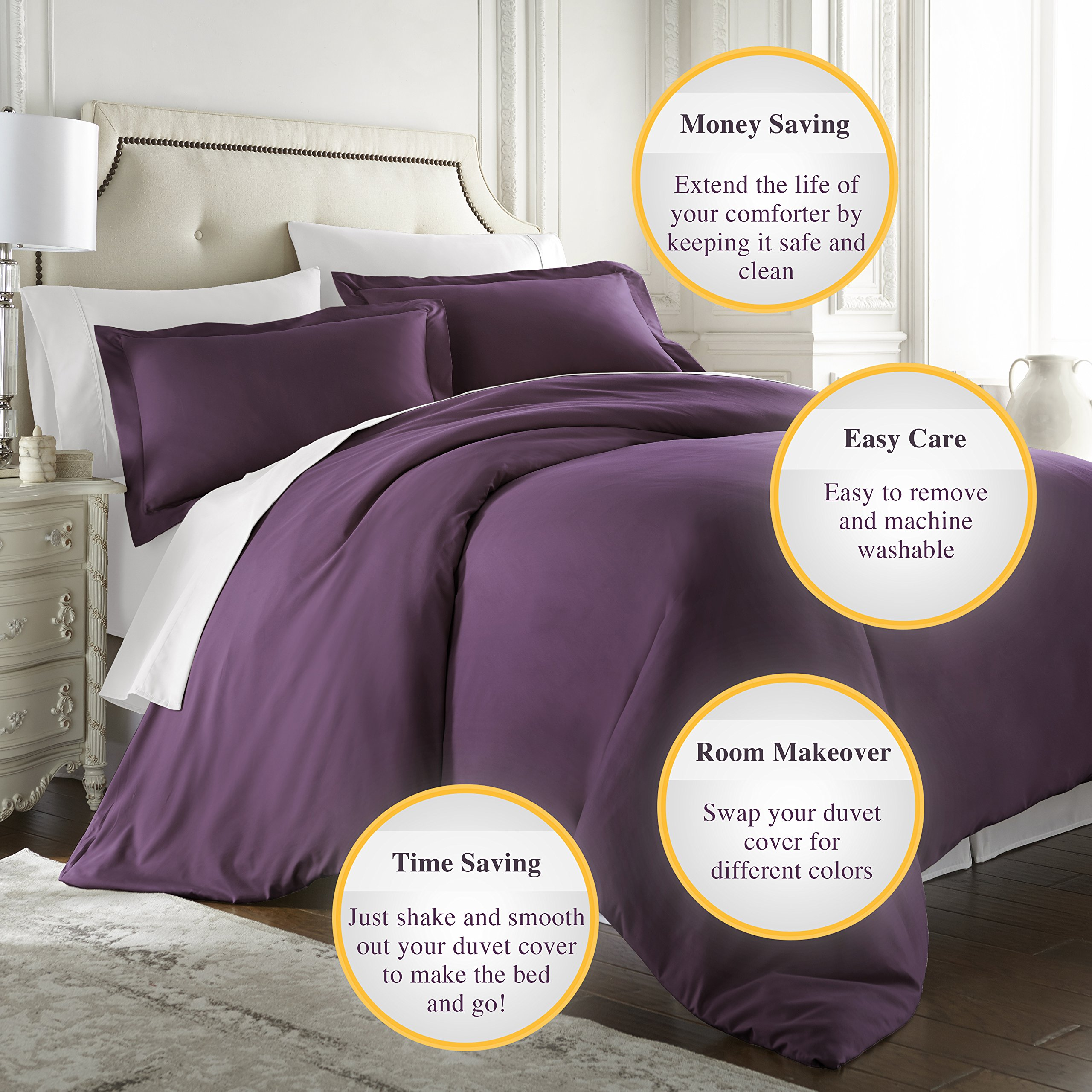HC COLLECTION Hotel Luxury 3pc Duvet Cover Set-1500 Thread Count Egyptian Quality Ultra Silky Soft Premium Bedding Collection-King Size Eggplant by HC COLLECTION (Image #5)