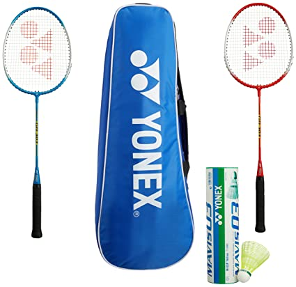 Yonex Gr303 Badminton Combo Kit Black & Blue Combination Light Weight Tennis & Racquet Sports