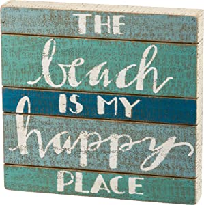 The Beach is My Happy Place Rustic Wooden Box Sign - Beach House Decor or Coastal Decoration