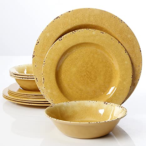 Gibson Studio 12 Piece Mauna Melamine Dinnerware Golden Yellow & Amazon.com: Gibson Studio 12 Piece Mauna Melamine Dinnerware Golden ...
