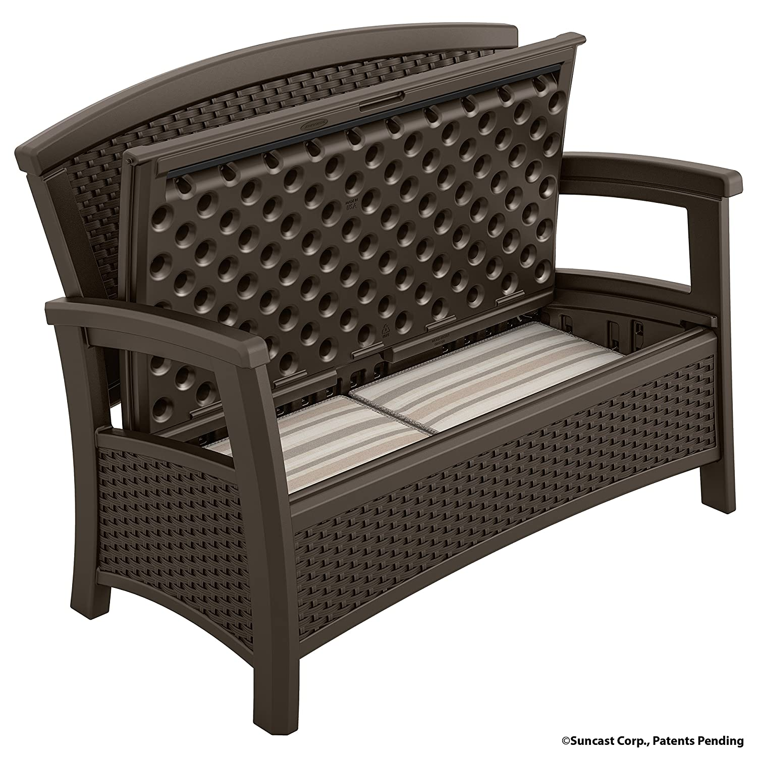 Amazon.com : Suncast ELEMENTS Loveseat With Storage, Java : Garden U0026 Outdoor