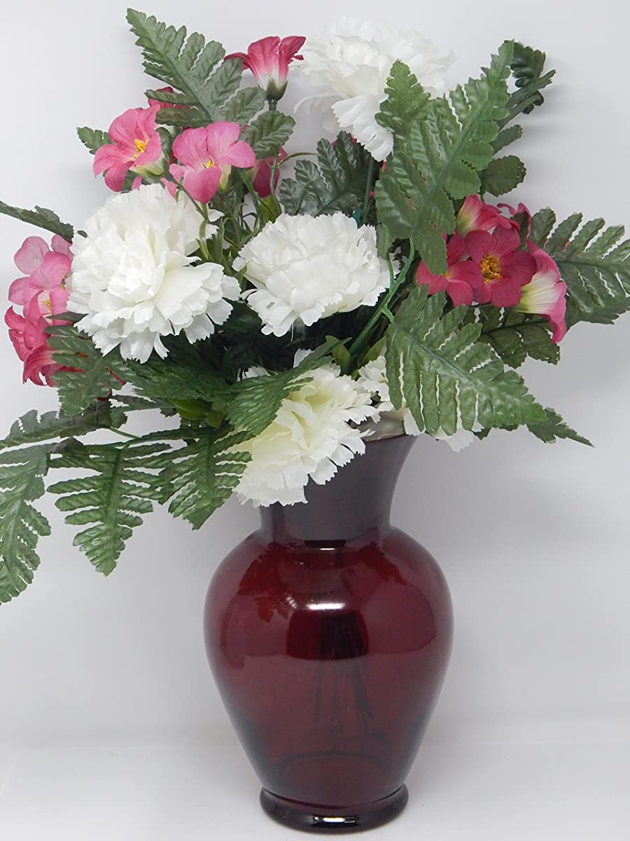 "Floral Supply Online 8 3/4"" Ruby Red Spring Garden Vase - Decorative Glass Flower Vase for floral arrangements, weddings, home decor or office."