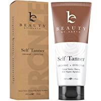 Self Tanner - Organic and Natural Ingredients Sunless Tanning Lotion and Best Bronzer Golden Buildable Light, Medium or Dark Gradual Tan for Body and Face, 7.5 oz