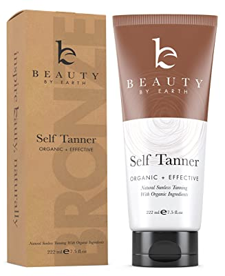 Self Tanner - Organic and Natural Ingredients Sunless Tanning Lotion and Best Bronzer Golden Buildable Light