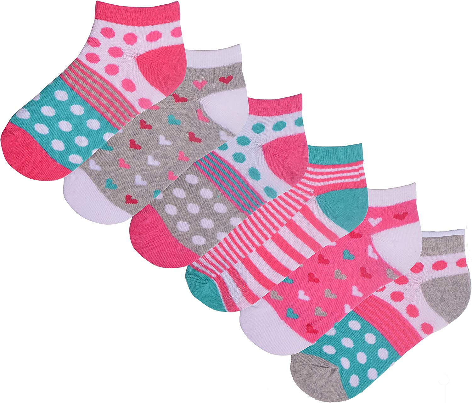 Girls 6 Pack Trainer Liner Socks Flamingo Design Spots Stripes Cotton Rich Grey Pink White Trainer Liners