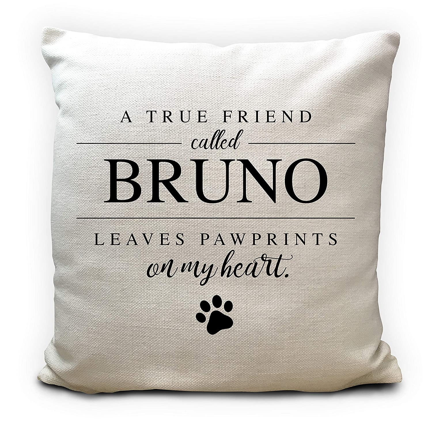 Personalised Dog Gift Cushion Cover, Pillow Case Pet name, Pawprints on my heart 40cm 16 inches