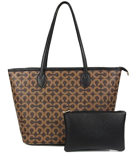 dc6c9c173 Amazon.com: MICOM Womens Handbags All-Over Printed Purses Satchel Shoulder  Bag with Zipper Wallet (Brown C): Shoes