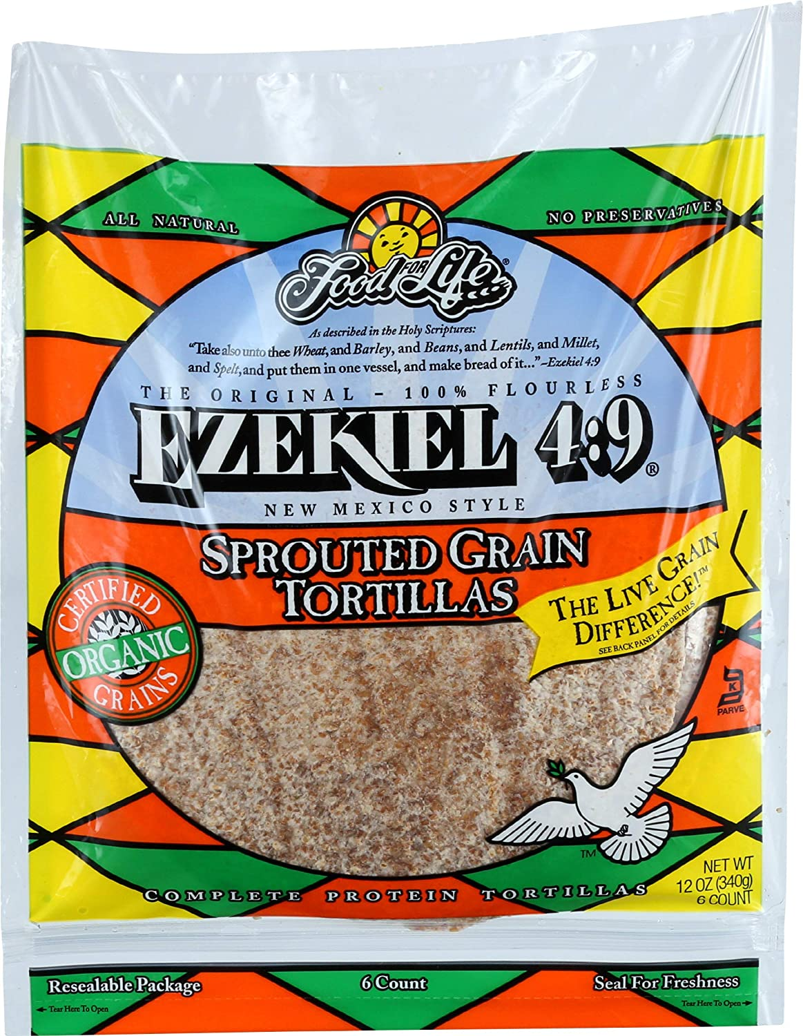 Food For Life, Tortillas Ezekiel Sprouted Whole Grain Large Organic, 12 Ounce