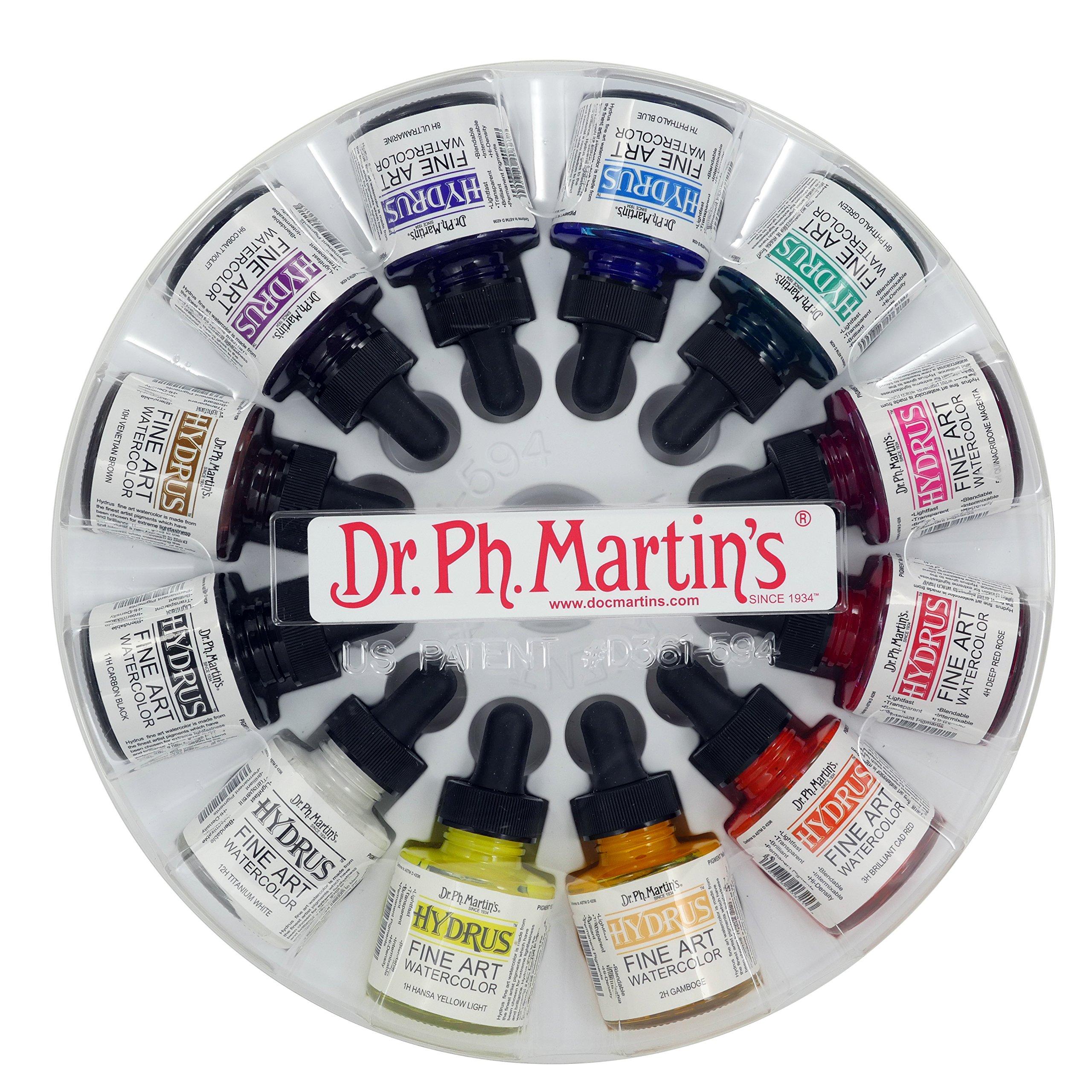 Dr. Ph. Martin's 400255-XXX Hydrus Fine Art Watercolor Bottles, 1.0 oz, Set of 12 (Set 1) by Dr. Ph. Martin's