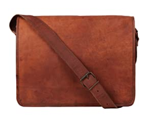 Rustic Town 13 inch Vintage Crossbody Genuine Leather Laptop Messenger Bag
