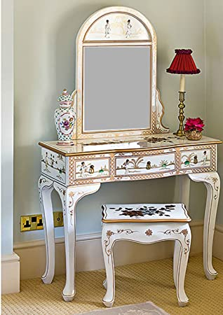 meuble oriental chinois laque blanc mre de perle ensemble coiffeuse avec miroir et tabouret