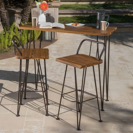 Great Deal Furniture Leonardo Outdoor Industrial Teak Finished Acacia Wood  Bar Set With Rustic Metal Finished