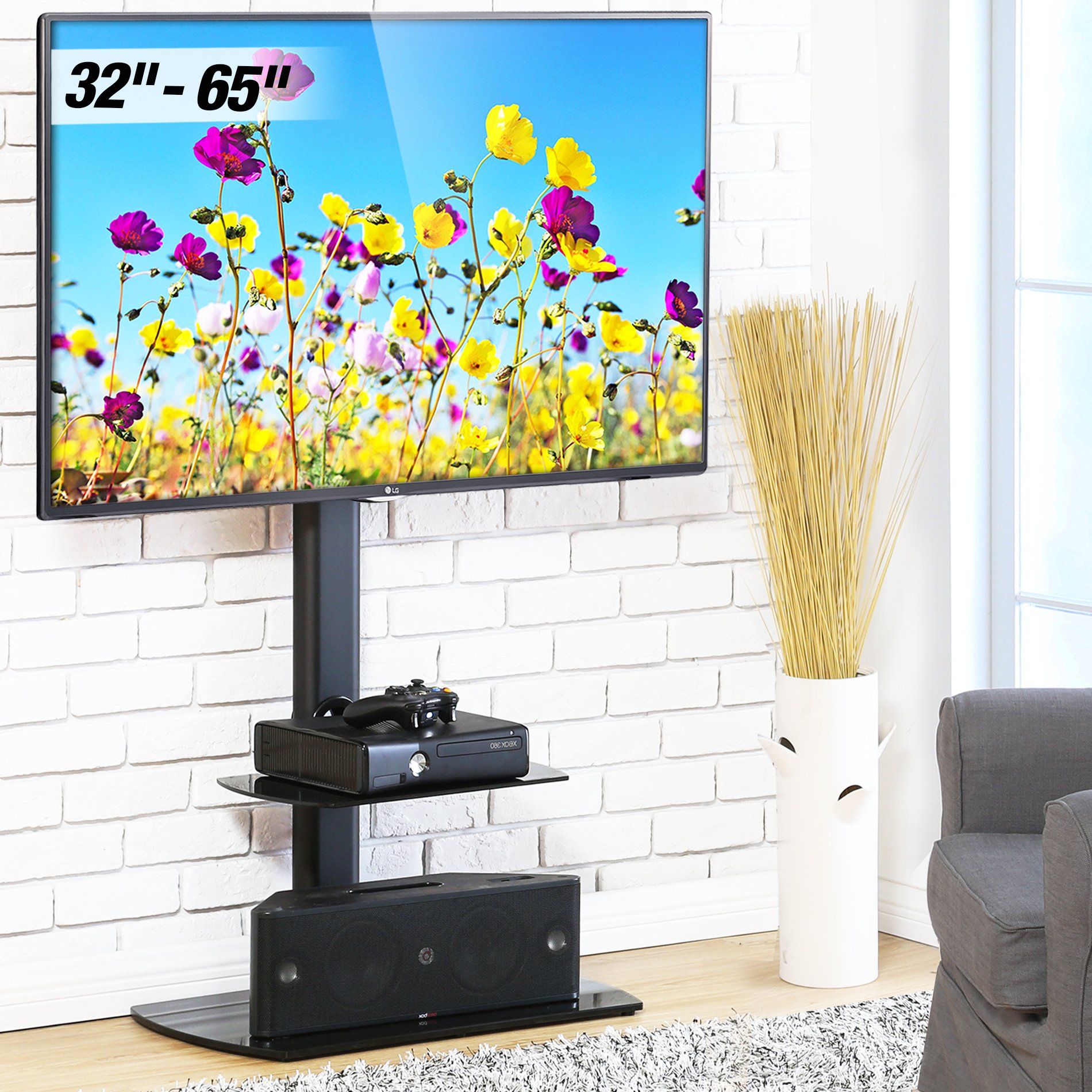 Fitueyes Floor TV Stand with Swivel Mount Height Adjustable Bracket VESA patterns up to 600mm x 400mm for 32 to 65 inch LCD, LED Oled TVs TT206502GB