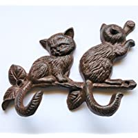 Cast Iron Two Cats on a Limb with Two Cat Tail Hooks for Cat Lovers, Feline Lovers, Pet Lovers Rustic, Vintage Two Hooks for Coats, Keys, Hats