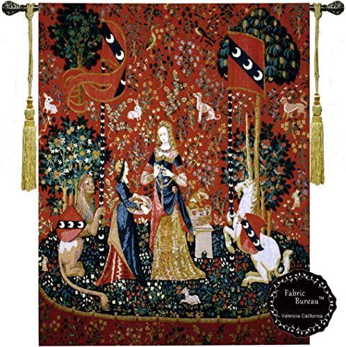 Fabric Bureau Smell-The Lady and The Unicorn Medieval Jacquard Woven 42 w X 55 l Wall Hanging Tapestry