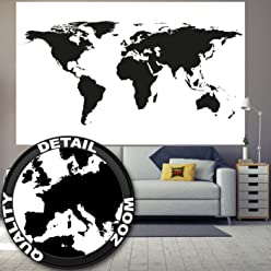 great-art Fototapete Weltkarte schwarz-weiß - 210 x 140 cm 5-teiliges Wandbild Landkarte Wandtapete Fototapete Tapete