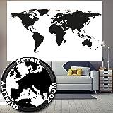 Fototapete Weltkarte schwarz wei§ Wandbild Dekoration Globus Karte Erde Kontinente Atlas Landkarte World Map Weltkugel Welt map of the world   Wandtapete Fotoposter Wanddeko by GREAT ART 210x140 cm