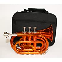 Cherrystone Pocket trumpet with case, orange.