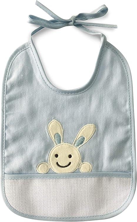 Babero de algodón para bebé niña con cierre de cordones o velcro y tela aida para poder bordar el nombre 1 pieza Coniglietto Azzurro: Amazon.es: Bebé