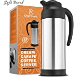ChefGiant Coffee Carafe 33 oz, Coffee Thermos, Coffee Server Vacuum Insulated Stainless Steel Carafe, Hot Beverage Dispenser, Water Carafe, Black & Silver Thermal Coffee Carafe, Double Wall-Commercia