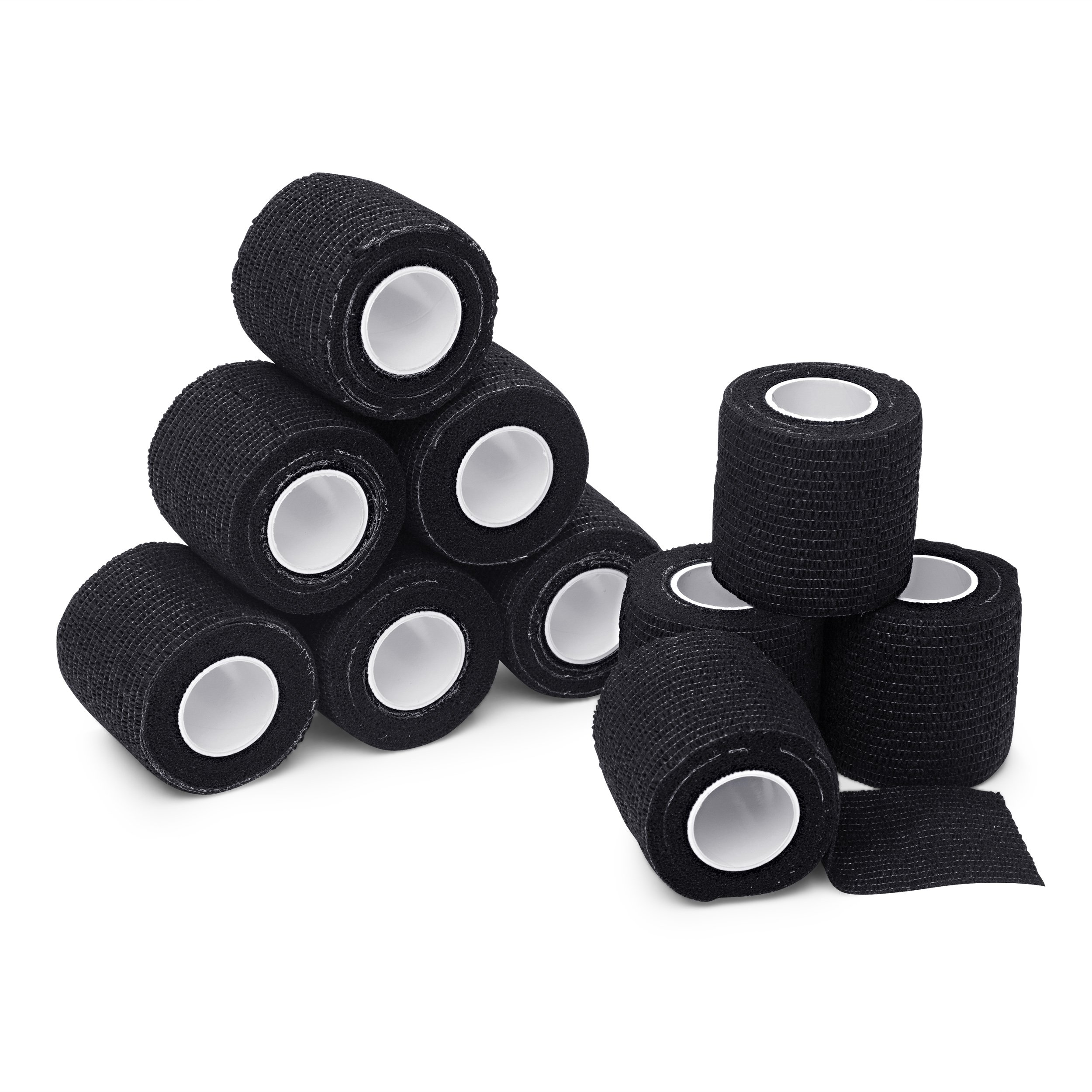 "10-Pack, 2"" x 5 Yards, Self-Adherent Cohesive Tape, Strong Sports Tape for Wrist, Ankle Sprains & Swelling, Self-Adhesive Bandage Rolls, FDA Approved, Black Color, Self Adhesive Tape, Athletic Tape"