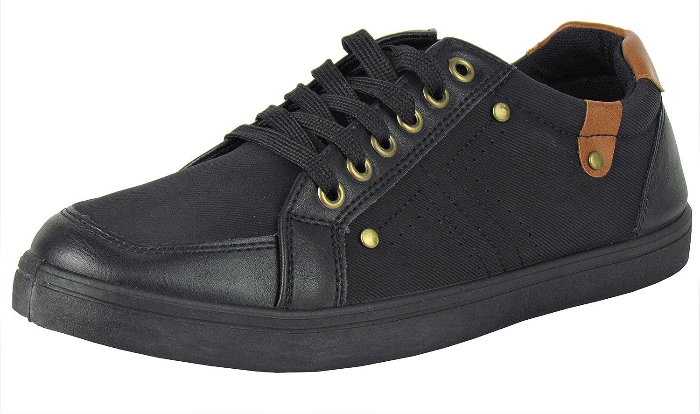 Sneaker Herrenschuhe Schuhe mit Stoff und Kunstleder Applikationen schwa