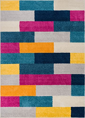 Well Woven High Line Bright Squares Fuchsia Purple Blue Yellow Orange Modern Geometric Tile Boxes Lines 5×7 5 x 7 Area Rug