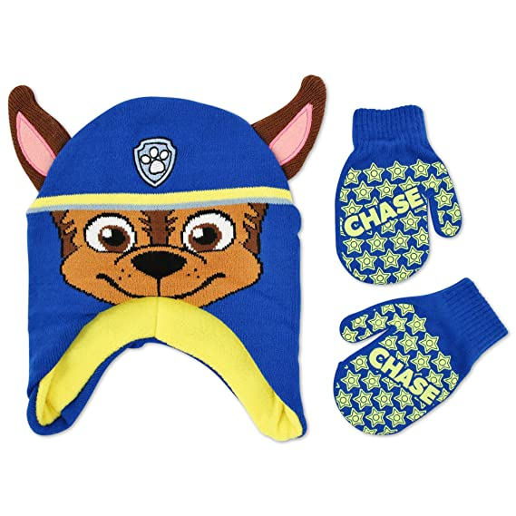 d6080d72f44 Nickelodeon Toddler Boys Paw Patrol Chase Acrylic Hosiery Knit Contoured  Short Winter Hat with Knit Ears and Matching Mitten Set