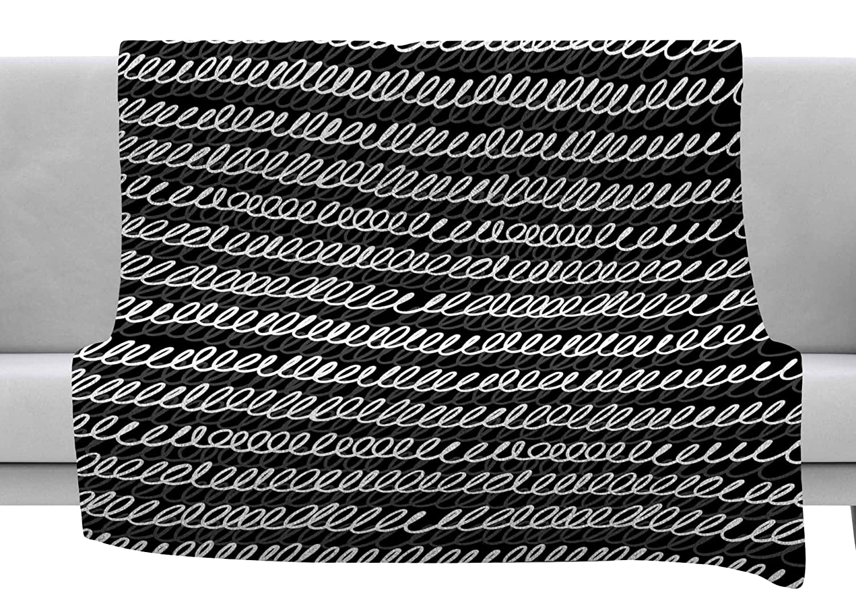 80 x 60 Fleece Blanket Kess InHouse Ivan Joh Squiggles Black White Painting Throw