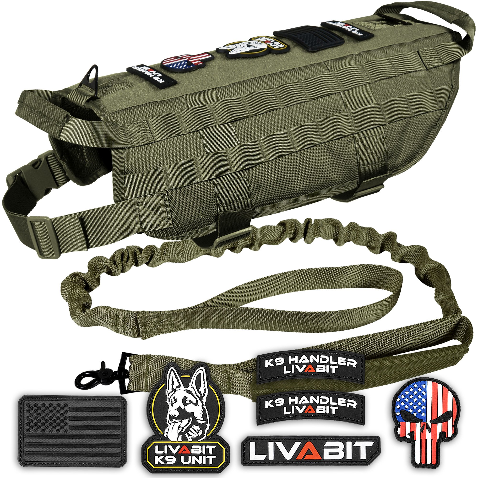 LIVABIT [ OD Green Canine Service Dog Tactical Molle Vest Harness + Morale PVC Patches + Matching Heavy Duty Bungee Leash Strap Large by LIVABIT