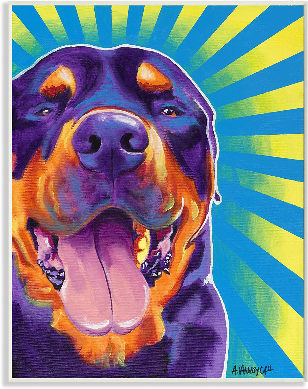 Stupell Home Décor Rottweiler On Bright Colors Graphic Art Dog Wall Plaque, 10 x 0.5 x 15, Proudly Made in USA