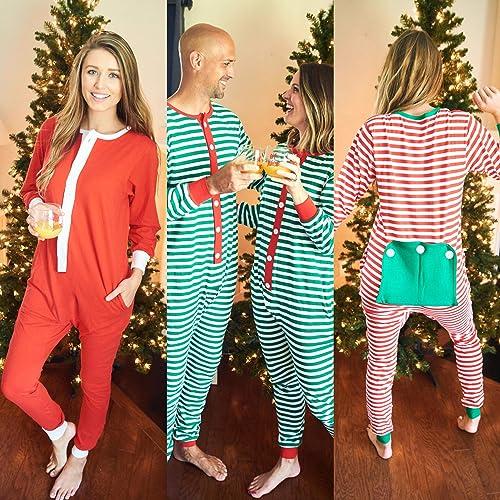 Amazon.com  Red Striped Adult Monogram One-Piece Christmas Pajama -  Embroidered Family Christmas Pajamas - Christmas Jammies  Handmade dffd1af1e