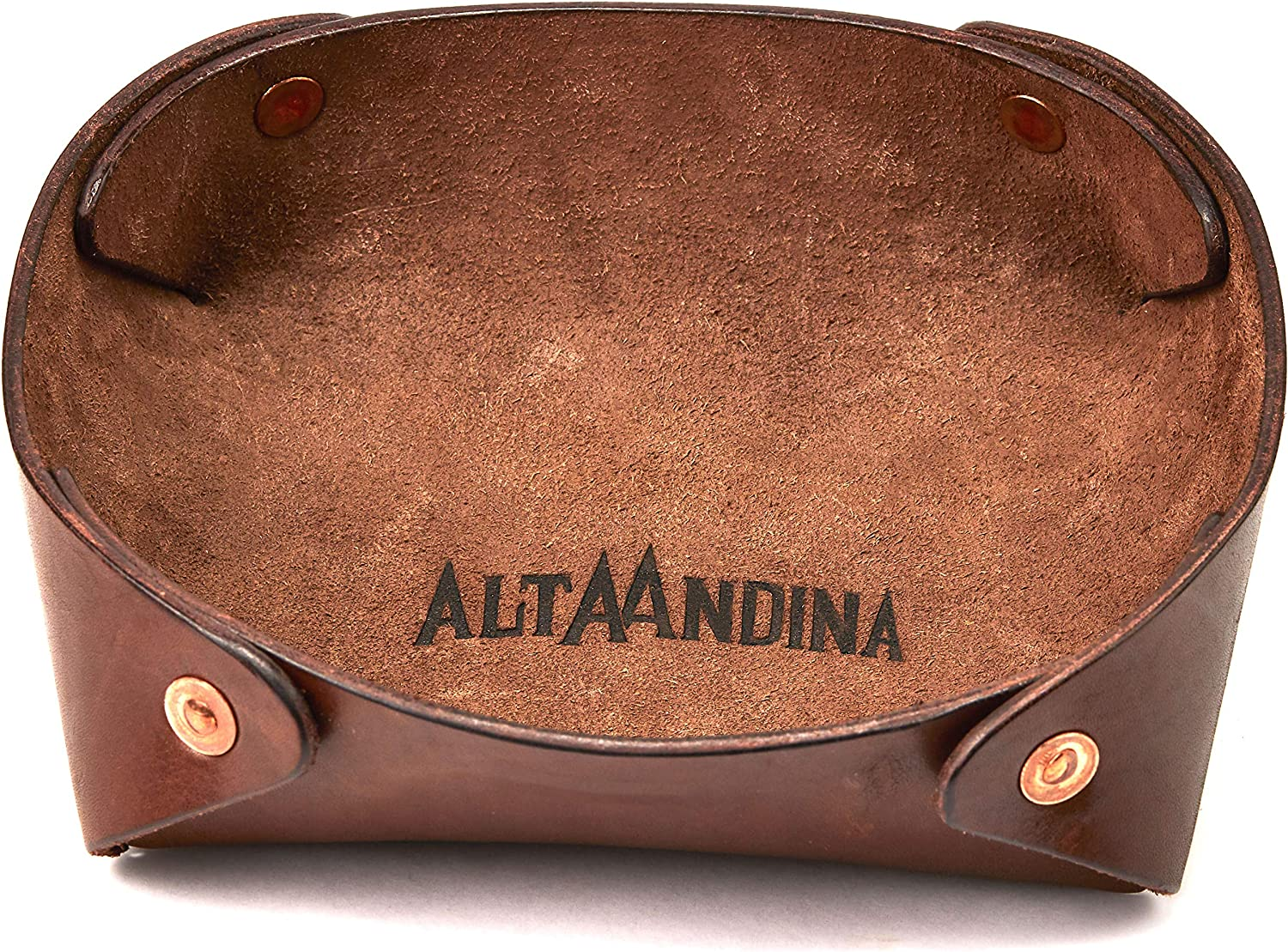 Alta Andina Large Leather Valet Tray Catchall Organizer Brown Caf