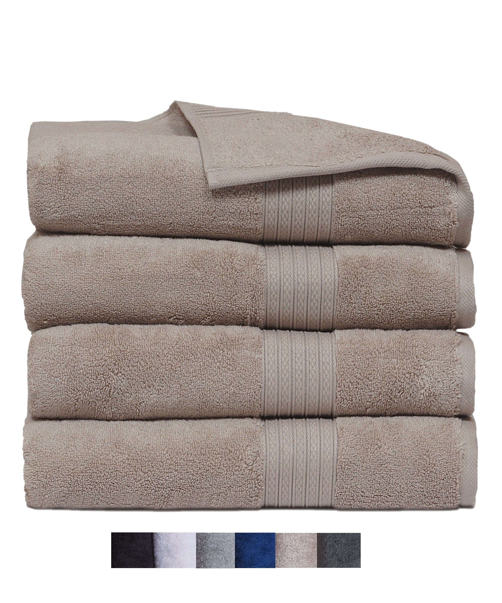 Casa Platino Quick Dry Super Zero Twist 4 Pack Large Bath Towel Set 28x54 7 Star Hotel Luxury Collection - 100% Pure Super Zero Twist Cotton (linen) by Casa Platino
