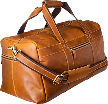 Men/'s Genuine Leather Outdoor Gym Duffel Bag Travel Weekender Overnight Luggage