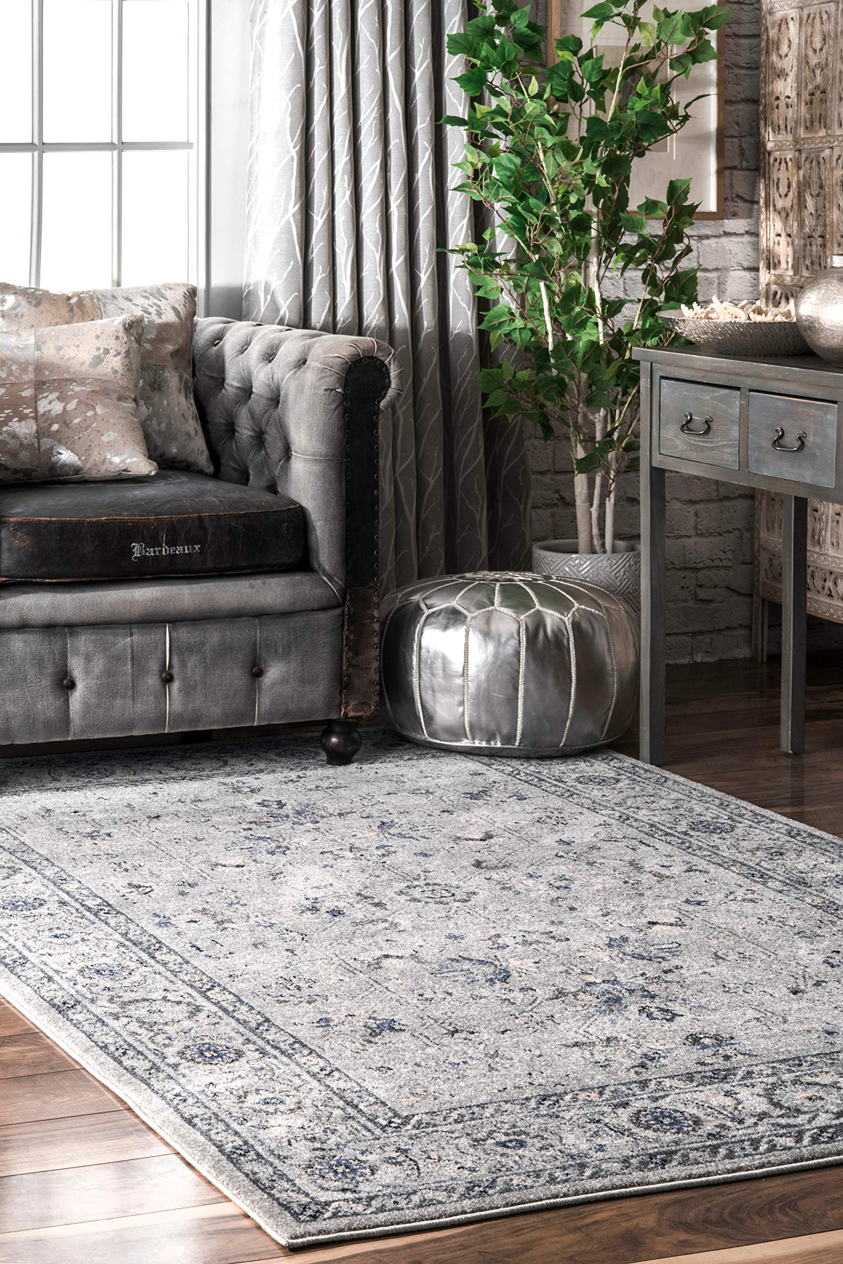 "nuLOOM Vera Distressed Florid Area Rug, 6' 7"" x 9', Grey - Material: 100% Polypropylene Weave: Machine Made Made in Turkey - living-room-soft-furnishings, living-room, area-rugs - 91dNNbJ%2BOJL -"