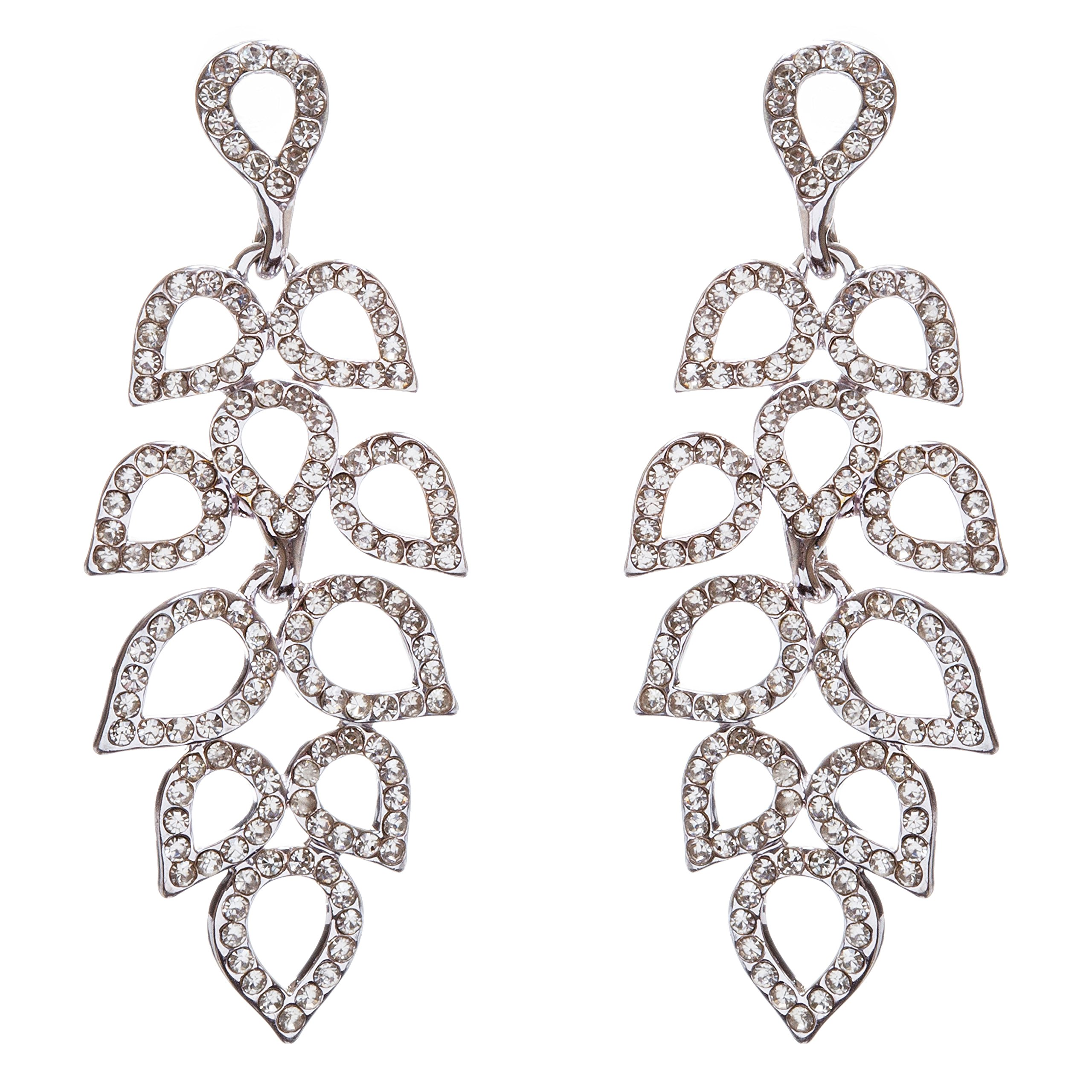 ACCESSORIESFOREVER Women Bridal Wedding Jewelry Prom Crystal Rhinestone Dazzling Dangle Earrings E960 SV
