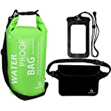 Waterproof Dry Bags Set Of 3 By Freegrace - Dry Bag With 2 Zip Lock Seals & Detachable Shoulder Strap, Waist Pouch & Phone Case - Can Be Submerged Into Water - For Swimming