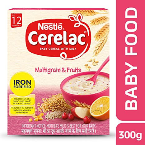 Nestle CERELAC Fortified Baby Cereal with Milk, Multigrain & Fruits � From 12 Months, 300g BIB Pack