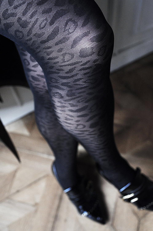 10e25a1b247 SWE-S. Swedish Stockings Emma Leopard Black Tights 60 Den Luxury Patterned  Pantyhose at Amazon Women s Clothing store