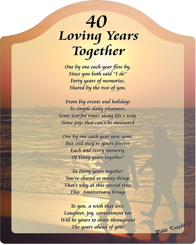 amazon com 40 loving years anniversary touching 8x10 poem with