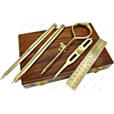 8 inch Brass tip 5MoonSuns Solid Brass Points Divider Marine Navigation Compass with Leather case