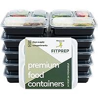 FITPREP® Original 3 Fach Meal Prep Container 10er Pack Modell 2019 Kompakt, platzsparend und dennoch 1 Liter Volumen inkl Ebook- BPA frei
